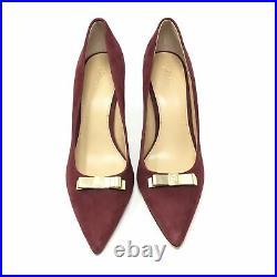 Women's NEW Michael Kors Classic Pump Heels Shoe Size 9 Maroon Suede Gold Bow H1