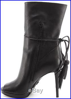 Women's Shoe Heel Boots MICHAEL KORS Rosalie Open Toe Bootie Leather Black New