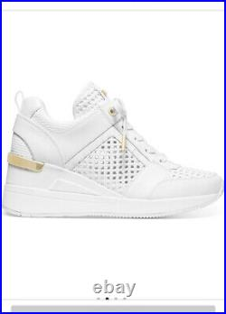 Women's Shoes Georgie Trainer Wedge Sneaker Leather Optic White Size 9.5