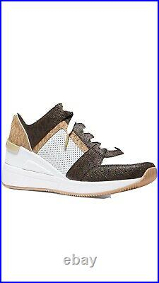 Women's Shoes Georgie Trainer Wedge Sneaker Leather White/brown 9,5