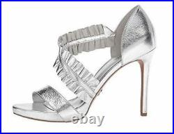 Women's Shoes Michael Kors BELLA PLATFORM Ruffle Dress Sandals Leather Silver