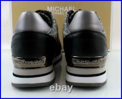 Women's Shoes Michael Kors Billie Trainer Lace Up Sneakers Graphite Black Size 8