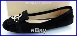 Women's Shoes Michael Kors FULTON KILTIE MOC Ballet Flats Suede Black Size 8.5