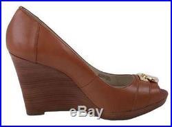 Women's Shoes Michael Kors HAMILTON WEDGE Peep Toe Wedge Heel Leather Luggage