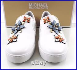 Women's Shoes Michael Kors HEIDI SLIP ON Sneakers Leather Optic White Size 8
