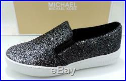 Women's Shoes Michael Kors Keaton Slip On Sneaker Glitter Gunmetal Grey Size 6.5