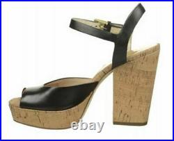 Women's Shoes Michael Kors London Platform Sandal Cork Heels Black Leather