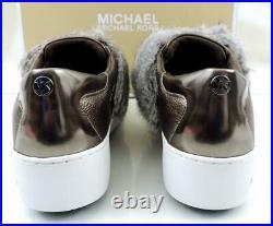 Women's Shoes Michael Kors Maven Platform Sneaker Metallic Leather Nickle Size 6