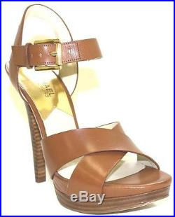 Women's Shoes Michael Kors OKSANA SANDAL Crisscross Sandal Heels Leather LUGGAGE
