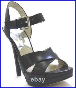 Women's Shoes Michael Kors OKSANA SANDAL Crisscross Sandals Heels Leather BLACK