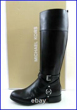 Women's Shoes Michael Kors Preston Tall Riding Boot MK Logo Leather Black Size 7