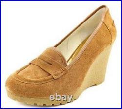 Women's Shoes Michael Kors RORY LOAFER Platform Wedge Heel Suede Walnut