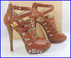 Women's Shoes Michael Kors SANDRA PLATFORM Heels Sandals Leather Luggage Size 9