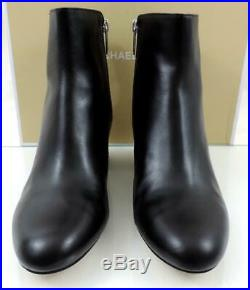 Women's Shoes Michael Kors Sabrina Mid Bootie Ankle Boots Leather Black Size 10