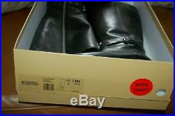Womens Boots Michael Kors Heather Black Leather Riding Tall Wide Shaft Calf 7.5