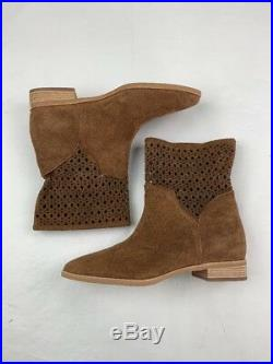 Womens Michael Kors Boots Sunny Suede Laser Cut Ankle Western Booties Brown 8 M