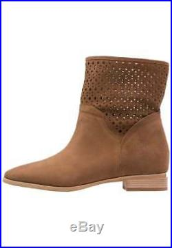Womens Michael Kors Suede Leather Sunny Bootie, Dark Caramel Brown, Size 10
