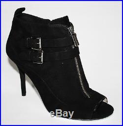 Womens Shoes Michael Kors BRENA Open Toe Bootie Pump Heels Black Suede