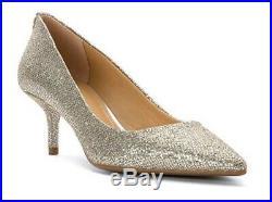Womens Shoes Michael Kors MK Mid Flex Kitten Pump Glitter Silver Mirror Metallic