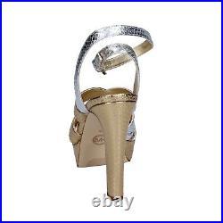 Womens shoes MICHAEL KORS 4 (EU 37) sandals silver gold leather BR791-37
