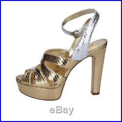 Womens shoes MICHAEL KORS 5 (EU 38) sandals silver gold leather BR791-38